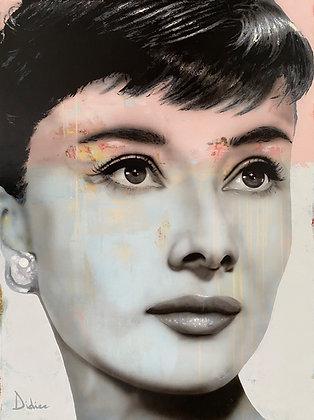 """""""Audrey Hepburn"""",  giclée sur TOILE, par DIDIER Artiste"""
