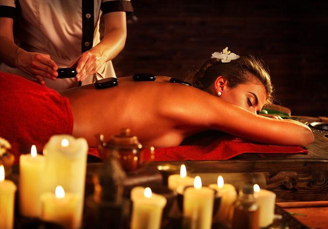 Hot stone massage rocks. Spa stones of w