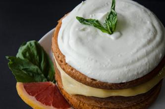 vanilla pound cake with grapefruit curd & basil cream