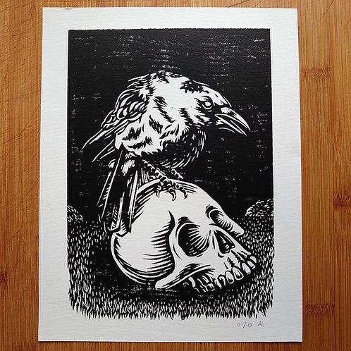 """Skull & Crow"" Linocut Print"