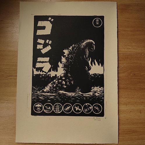 Godzilla (1954) Linocut Print (antique)