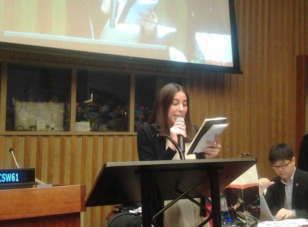 The Founder Luz Maria as a Global Champion for Change of UN Women, Champion of the UN Interagency and Founder and President of Fundación Luz María at #YouthCSW61