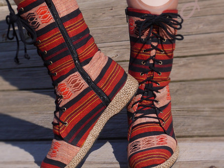 New And Unique Red Tribal Vegan Boots