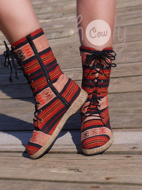 Boho Red Tribal Vegan Boots