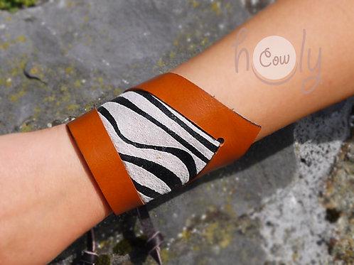Handmade Orange Leather Bracelet