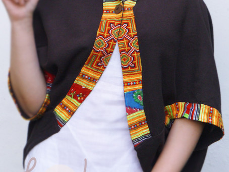 Brown Cotton Short Jacket With Hmong Embroidery