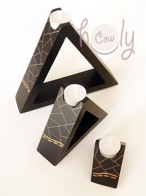 Black Wooden Candle Holder Set