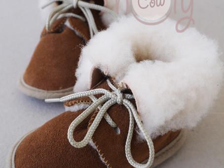 Cozy Handmade Brown Sheepskin Baby Boots
