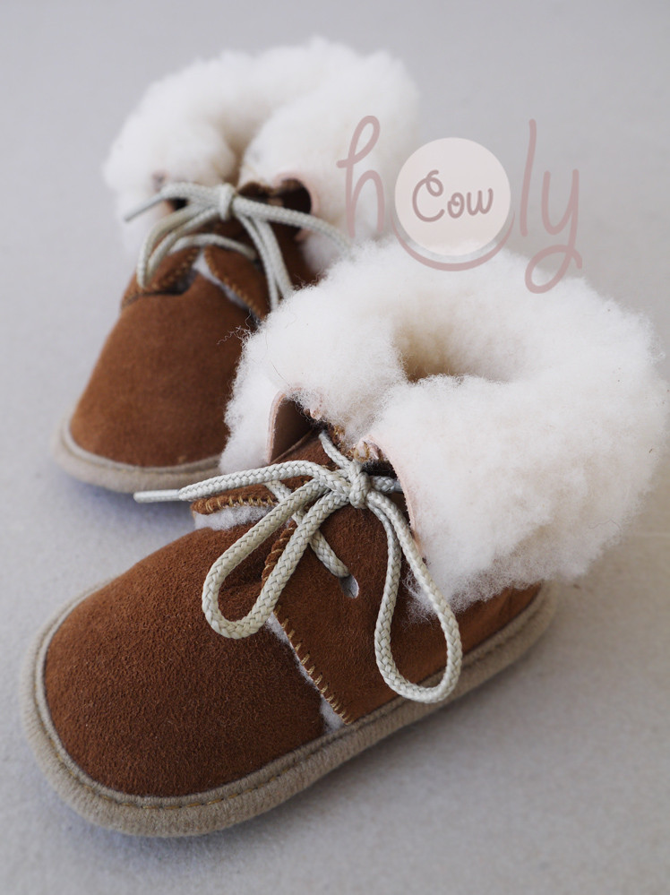 Cozy Handmade Brown Sheepskin Baby Boots