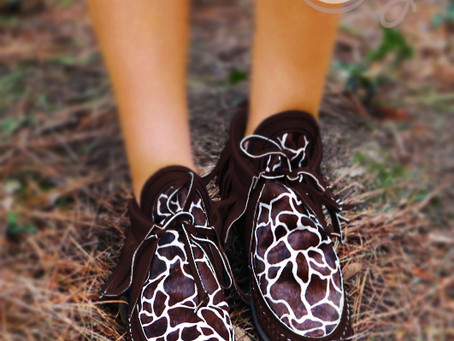 New Brown Leather Boots With Giraffe Cowhide Print
