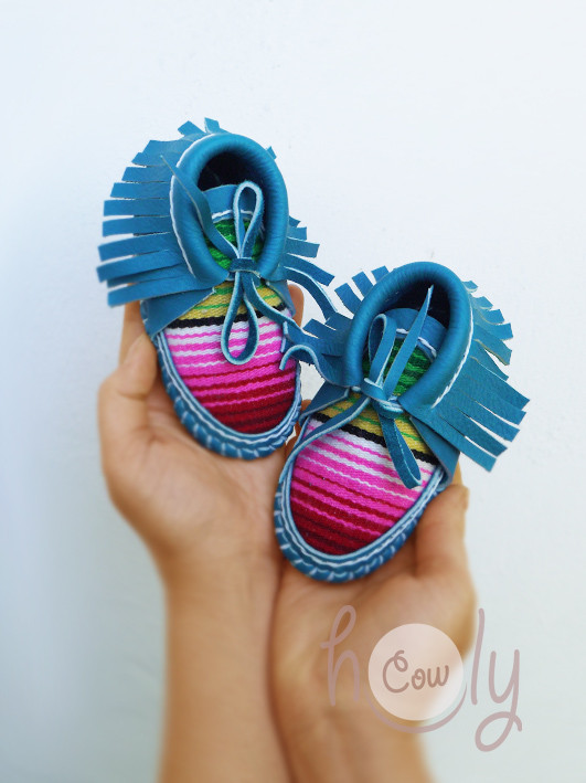 Turquoise Leather Baby Cowboy Serape Moccasins
