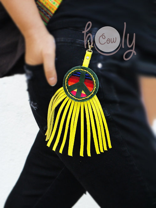 Leather Serape Peace Key Ring