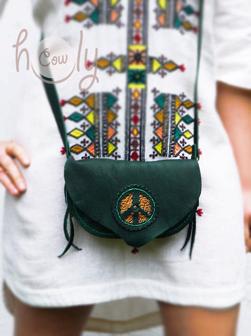Turquoise Leather Peace Shoulder Bag