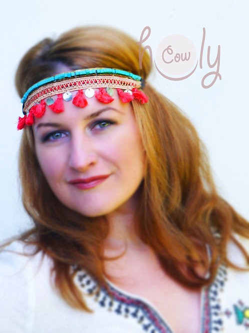 Hippie Turquoise Beaded Headband