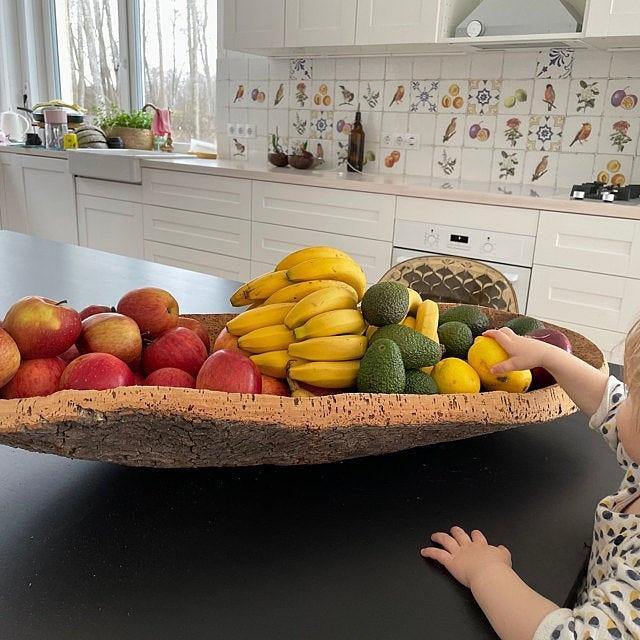 Handmade cork fruit bowl