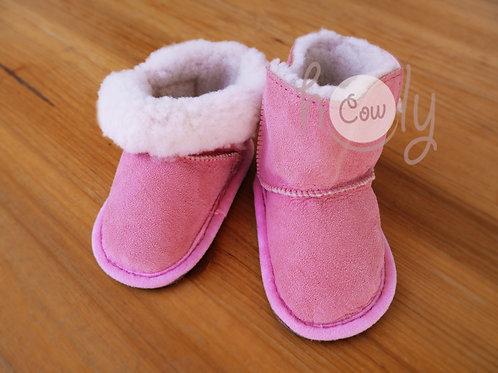 Handmade Sheepskin Pink Baby Boots