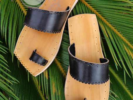 New And Unique! Handmade Black And Brown Leather Sandals With Leather Sole