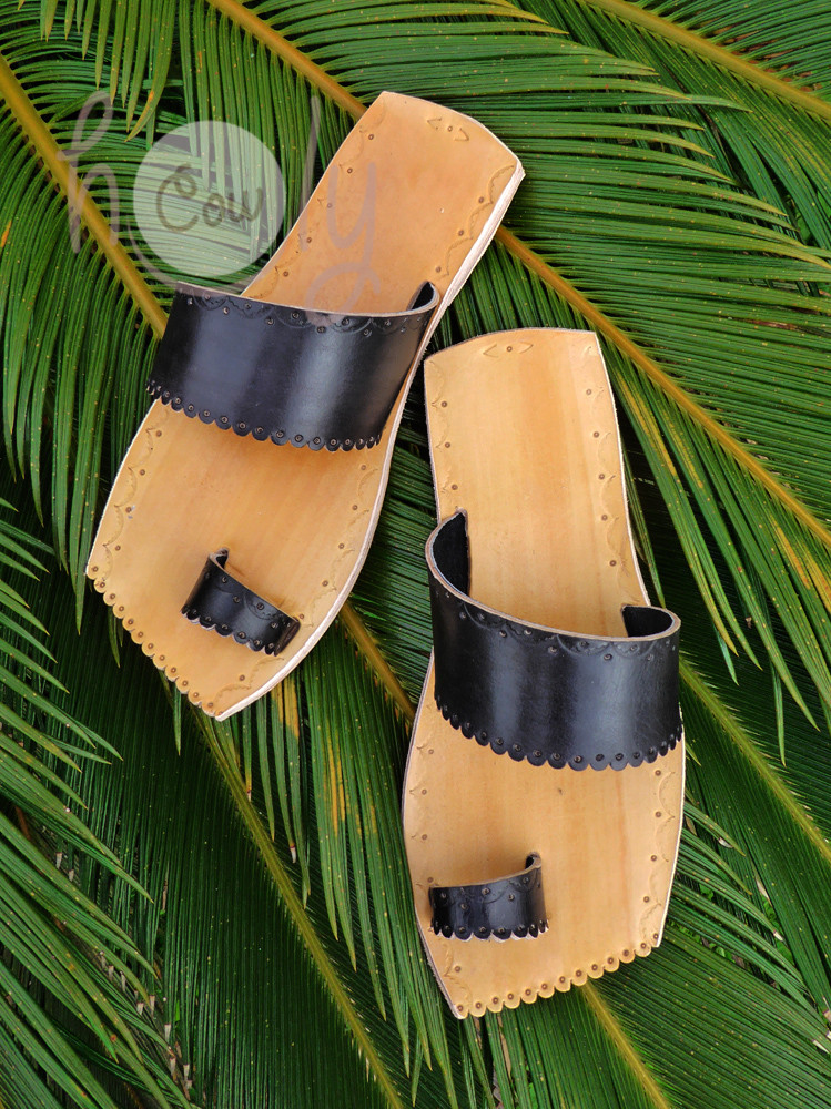 Handmade Black And Brown Leather Sandals With Leather Sole