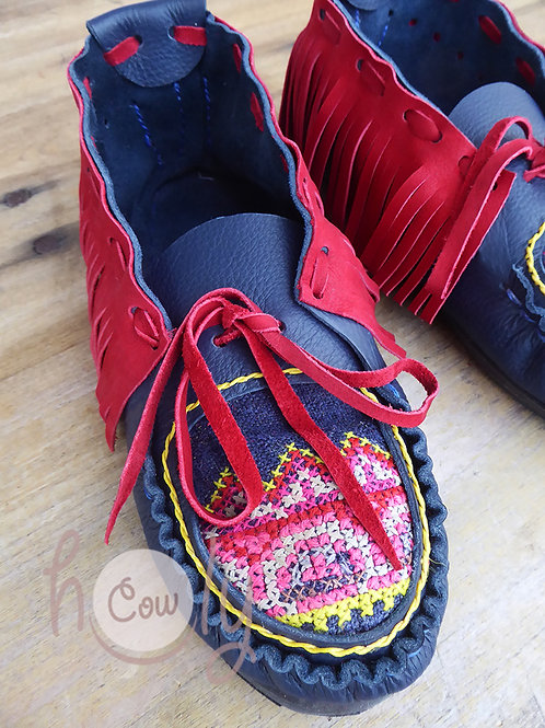 Blue And Red Leather Tribal Moccasins