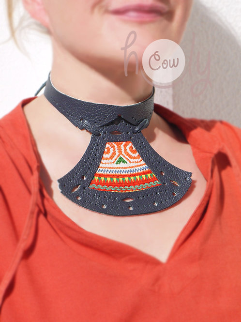 Boho Gray/Blue Leather Choker Necklace