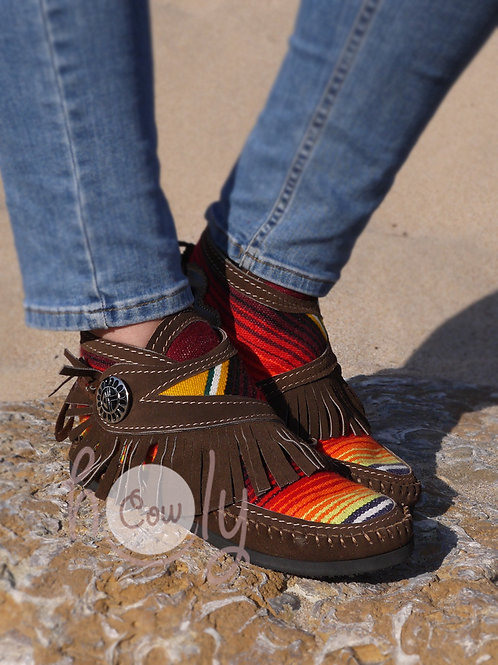 Funky Brown Leather Serape Moccasins