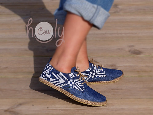 Blue And White Tribal Vegan Shoes
