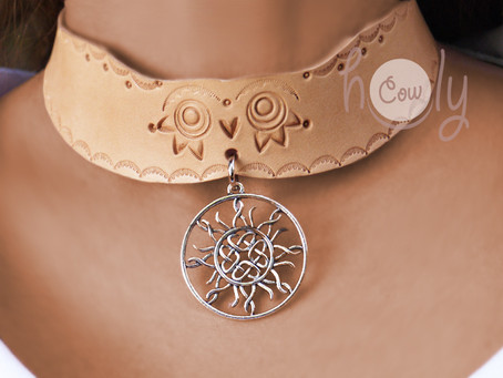 Leather Necklace With Celtic Knot Sun Pendant