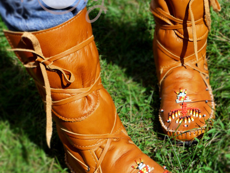 Thunderbird Beaded Brown Leather Moccasins