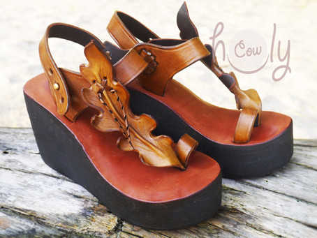New Handmade Brown Leather Platform Leaf Sandals