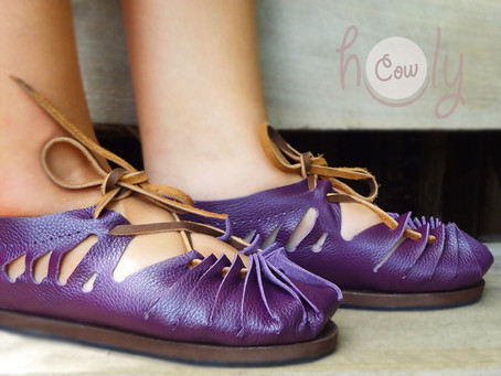 Handmade Sexy Purple Leather Sandals