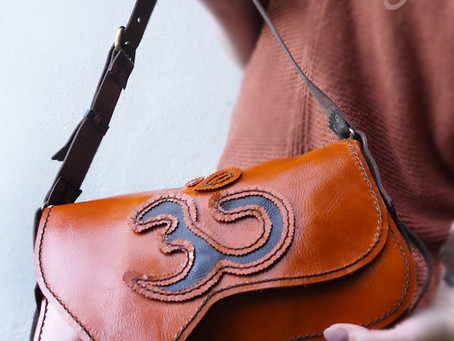 Indian Orange Om Leather Bag