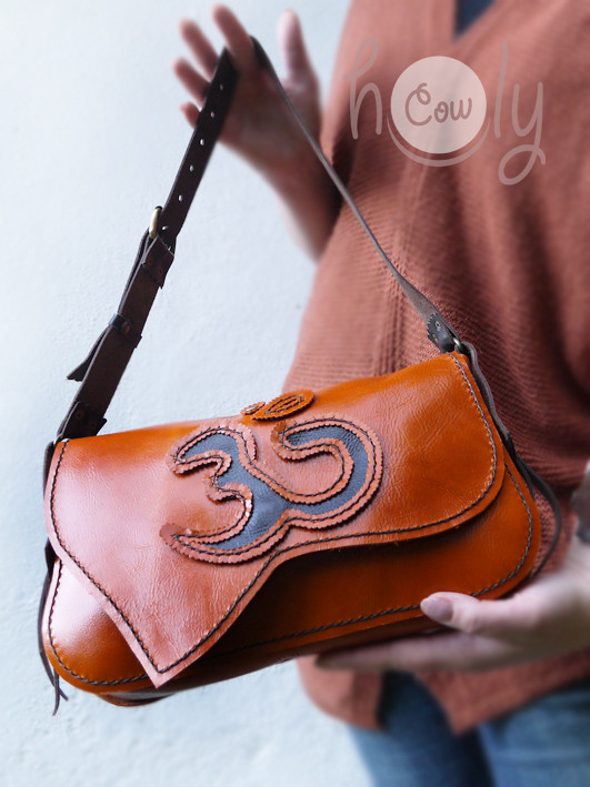 "Indian Orange Leather Bag ""Om"""