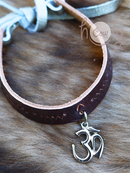 Leather Necklace With Om Pendant