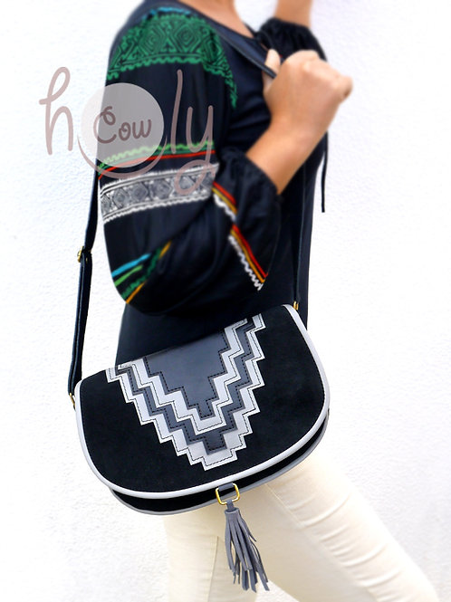 Black Suede Cowgirl Shoulder Bag
