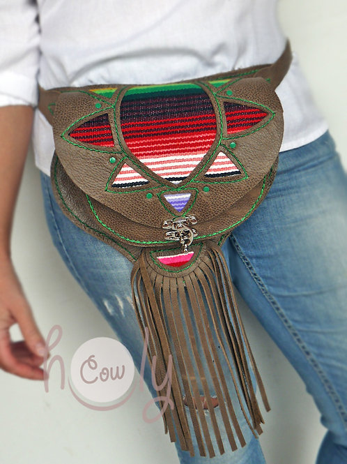 Hand Stitched Leather Serape Belt Bag