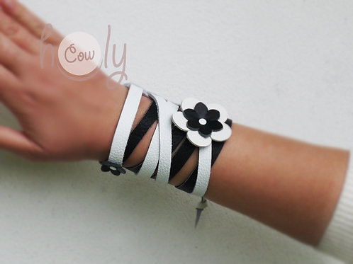 Black&White Leather Boho Bracelet
