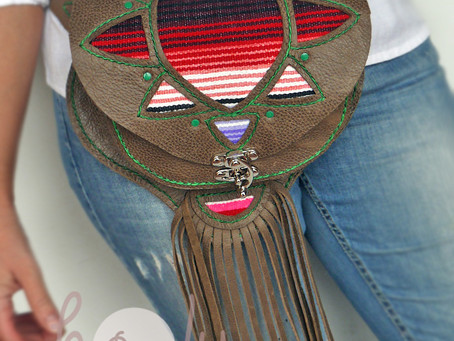 New Hand Stitched Leather Serape Belt Bag