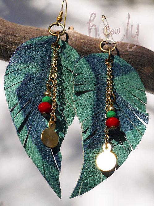 Green Leaf Boho Leather Earrings