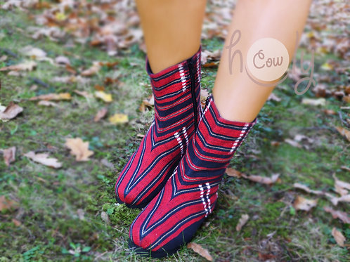 Unique Red Tribal Vegan Boots