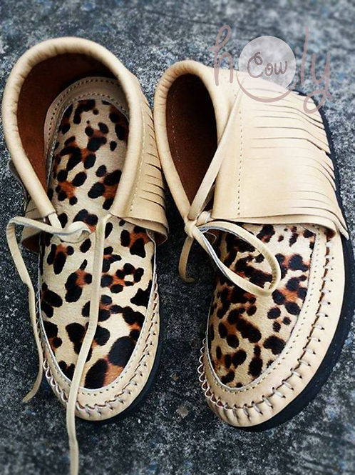 Beige Leather Boots With Leopard Print