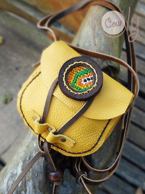 Small Yellow Leather Hmong Bag
