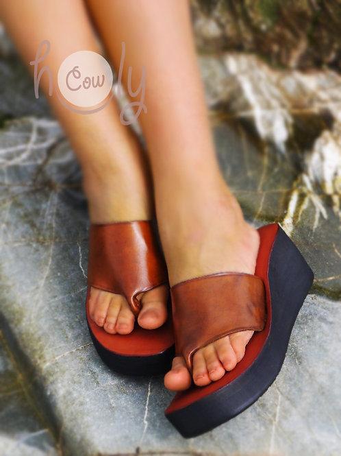 Brown Leather Platform Sandals