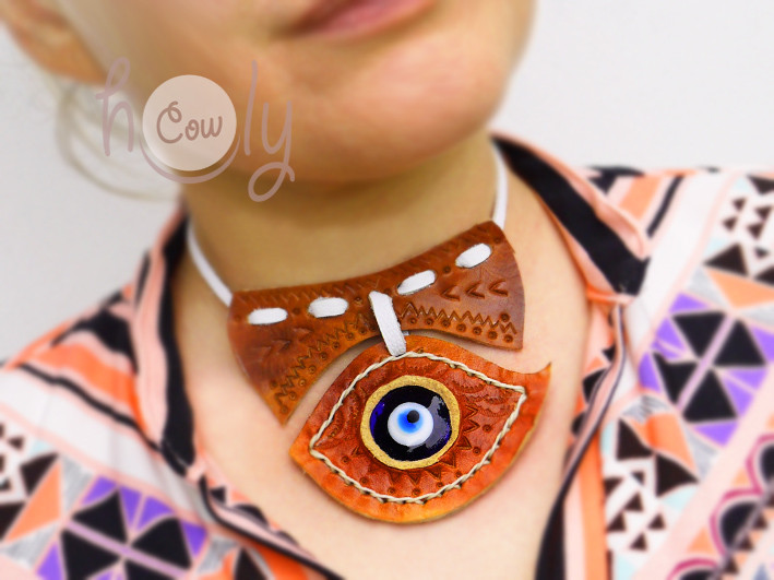 Leather Necklace With Evil Eye
