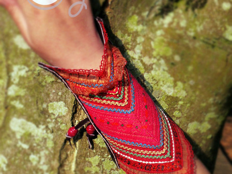 100% Handmade Brown Leather Long Bracelet With Tribal Vintage Fabric