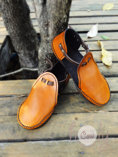 Beautiful Orange Leather Sandals