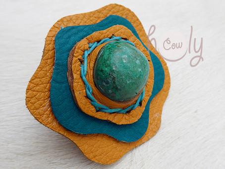 Large Adjustable Leather Ring With Turquoise Gemstone