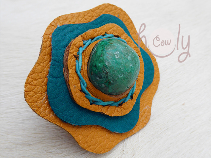 Large Adjustable Leather Ring With Turquoise Gemstone