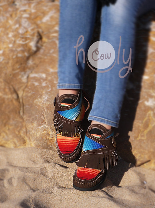One Off Brown Leather Serape Moccasins