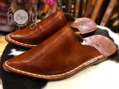 Hand Stitched Brown Leather Slip Ons / Loafers