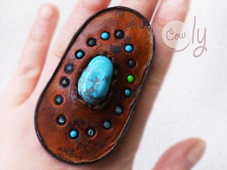 Handmade Adjustable Leather Ring With Turquoise Gemstone
